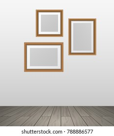 Vector realistic wooden photo frames hanging on wall in room woth parquet floor - template