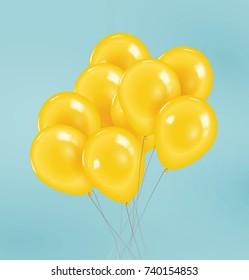 Vector realistic yellow balloons.
