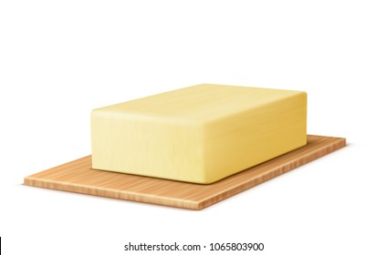 Vector realistic yellow stick of butter on the cutting board, margarine or spread, natural dairy product isolated on background. Fat, high-calorie food for cooking and eating. Mockup for your design