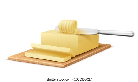 Vector realistic yellow stick of butter on cutting board with metal knife isolated on background. Slices of margarine or spread, fatty natural dairy product. High-calorie food for cooking and eating