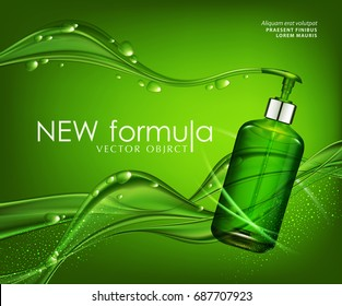 Vector realistic,green,transparent bottle 3d. Soap pump on background green bubbles, drops,abstract waves.Cosmetic vial wish shampoo,gel. Elements,template for cosmetic business,advertising, promotion