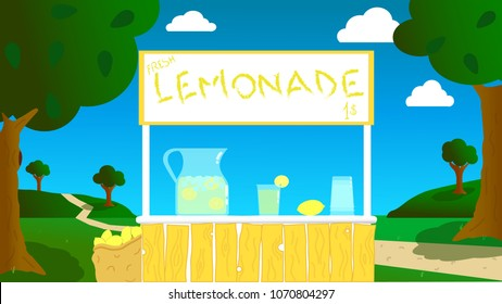 vector realization of a stand, made by children, in the open air for the sale of fresh lemonade during the summer