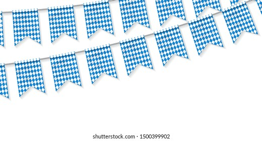 Vector realsitic isolated party flags flyer of Oktoberfest festival for template decoration and invitation covering on the white background.
