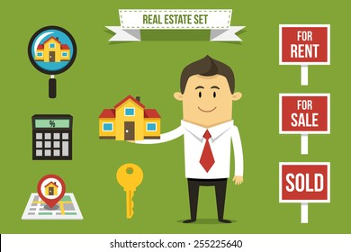 Vector realtor with set of real estate icons. Each object can be placed in his hand.