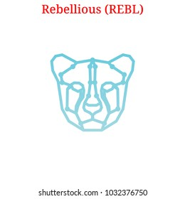 Vector Rebellious (REBL) digital cryptocurrency logo. Rebellious (REBL) icon. Vector illustration isolated on white background.
