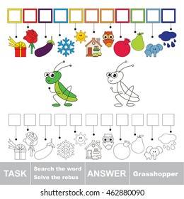Vector rebus game for children. Easy educational kid game. Simple game level. Find solution and write the hidden word Grasshopper.