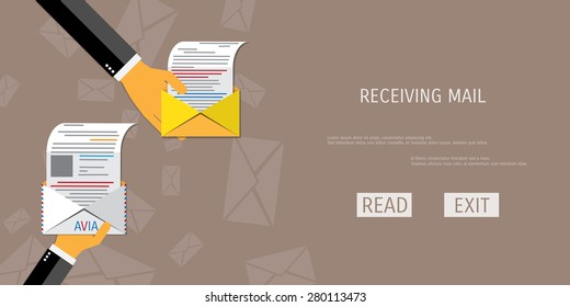 Vector receive mail web flat background. Global communication. Social network. Concepts for web banners and promotional materials.