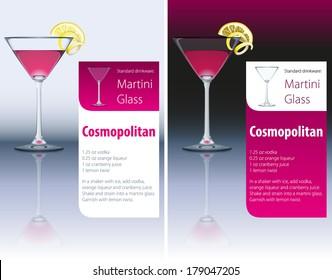 Vector recipe for Popular Cocktail Cosmopolitan