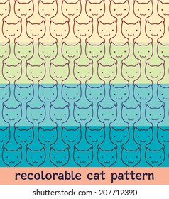 Vector recolorable cat pattern