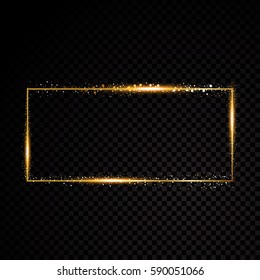 Vector rectangle frame. Shining banner. Isolated on black transparent background. Vector illustration
