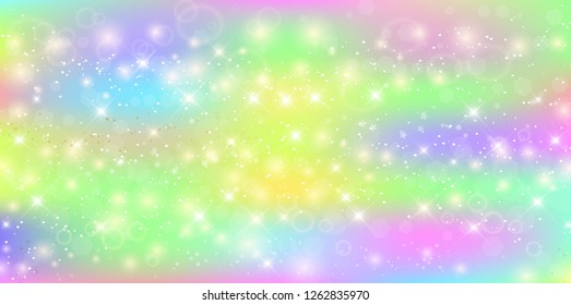 Vector rectangle galaxy fantasy background in vibrant baby colors. Magic unicorn banner billboard with rainbow mesh. Cute universe template in princess colors. Fantasy gradient backdrop with hologram.