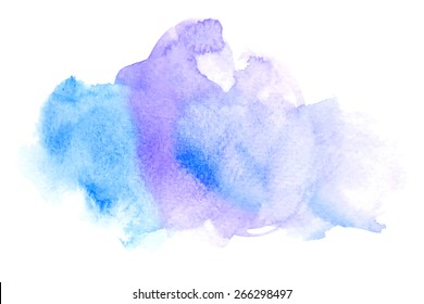 Vector rectangular blue watercolor drop. Abstract art hand paint isolated on white background. Watercolor stains. Watercolor banner