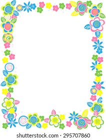 vector rectangular frame of flowers and pastel colors