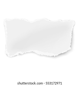 Vector rectangular ragged piece of paper with soft shadow placed on white background
