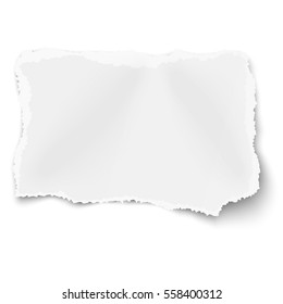 Vector rectangular ragged torned paper scrap with soft shadow placed on white background.