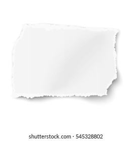 Vector rectangular square ragged paper scrap with soft shadow placed on white background