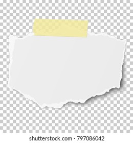 Vector rectangular torn piece of paper with soft shadow on yellow sticky adhesive tape placed on transparent checkered background. Template paper design.