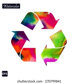Vector recycle symbol with watercolor colors. Vector