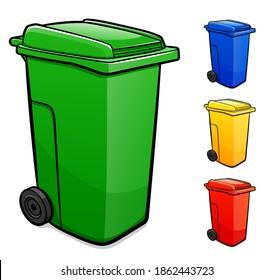 Vector recycling bin illustration set
