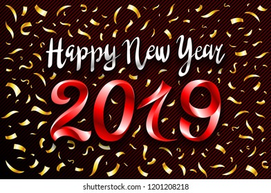vector red 2019 change represents the happy new year three-dimensional rendering, 3D illustration gold cofetti