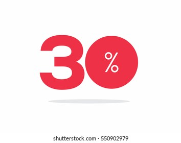Vector red 30% text on air with shadow.
