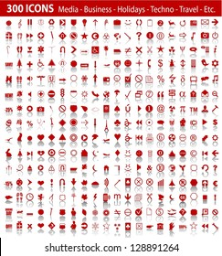 vector red 300 universal web icons set with shadow eps 10