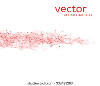 Vector red abstract particles on whote background