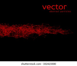 Vector red abstract particles on black background