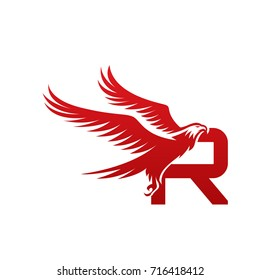 Vector Red American Eagle Letter R Logo