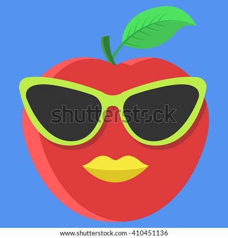 76688b49d0a51 Vector Red Apple Cartoon Glasses Yellow Stock Vector (Royalty Free ...