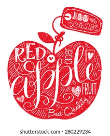 Vector Red Apple Fruit. Vintage Retro Grunge Fruit Label, Sticker, Badge or Icon with Calligraphy and Hand drawn Lettering for Fresh and Healthy Fruits.