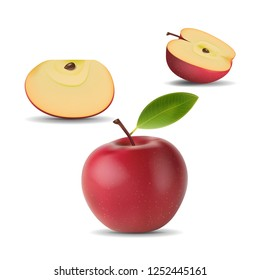 vector red apple with green leaf and slicea nd half apple. Isolated eco natural food fruit illustration on white background