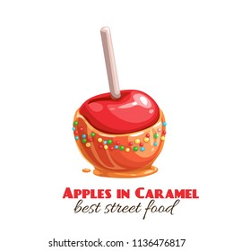 Vector red apples in caramel or toffee. Halloween sweets for street food cafe. Cartoon style.