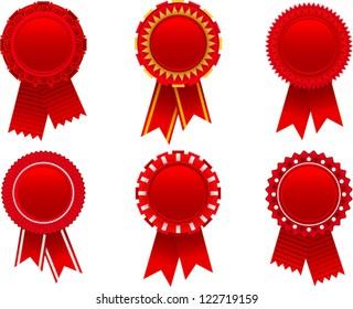 vector red award rosette set