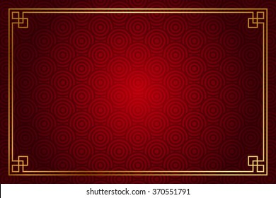 Vector red background with abstract pattern (chinese style) and gold decoration