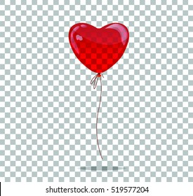 Vector red balloon in form of heart.