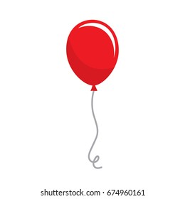 Vector red balloon with reflection. Happy birthday celebration party.