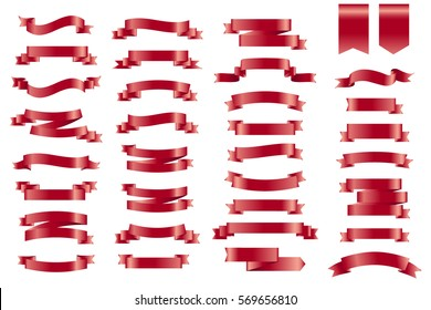 Vector red banner Ribbons. Set of 34 Ribbons