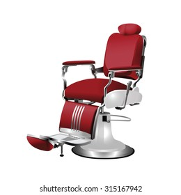 Vector red  barber chair on a white background