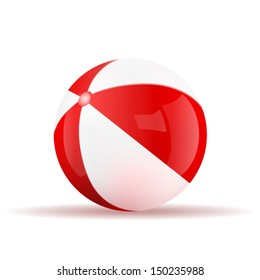 Vector red beach ball isolated on a white background. Fitness symbol