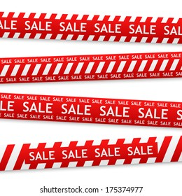 vector red bent sticker with white sale sign
