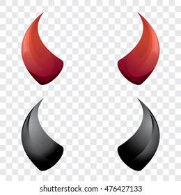 vector Red and black devil, demon, satan horns isolated. Halloween evil horns