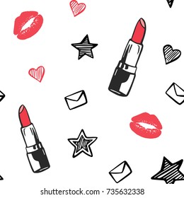 Vector red and black fashion seamless pattern. Hand drawn fashion illustration with lipstick, lips, stars and others. Objects isolated on white. Beauty illustration