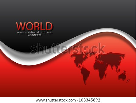 Vector Red Black World Map Wave Stock Vector Royalty Free