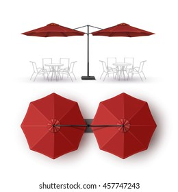 Vector  Red  Blank Patio Double Outdoor Beach Cafe Bar Pub Lounge Restaurant Round Umbrella Parasol  for Branding Top Side View Mock up Close Isolated on White Background