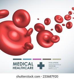 Vector red blood medical background. Vector illustration