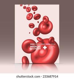 Vector red blood medical business card background. Vector illustration