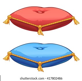 Vector red and blue satin pillows with gold tassels