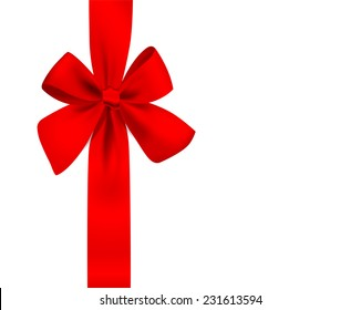 Vector red bow on white background. Vertical composition.