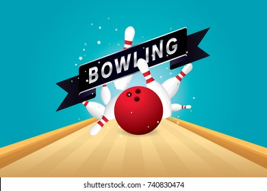 Vector of red bowling ball crashing into the pins.